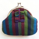 Cute coin or cosmetic purse - free postage.  Multi coloured stripes.