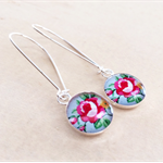 Hot Pink Rose Dangle Silver Resin Earrings