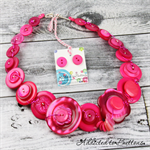 Bold Hot Pink pearl free-formed wired Button Necklace - Chunky and  Beads