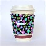 Coffee Cup Cuff/ Cosy/ Sleeve - Pretty purple & teal flowers on black