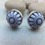 Vintage Blue/Grey and White Dome Studs