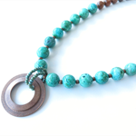 Freedom green agate and wood bright colour beaded statement necklace