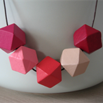 Geometric Hand-Painted Necklace (wood beads)