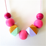 Girls Necklace - Adjustable Wooden Beads Geometric