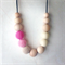 Simboo nursing necklace - Alyssum pink ombre and cream silicone and maple wood