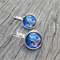 Blue feathered cabochon leverbacks