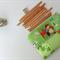 Zippered Pencil Case Boys Fun Patchwork Zip Pouch in Green Retro