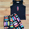 Boys Surf Board Shorts Set, Black & Bright Multicoloured Surfboards Size 1-3
