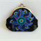 Blue and Black Floral Purse for coins or cosmetics - Free postage