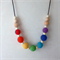 Simboo nursing necklace - Rainbow crochet cotton, maple wood and cream silicone