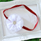 Christmas Headband White Flower on Red Glitter Elastic