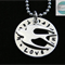 Personalised Names Pendant & Necklace with Sterling Bird. Luxurious Range