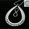 Personalised Names Pendant , Tear Drop, Family Necklace Stainless Steel , 21st
