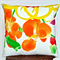 Arty,Watercolour Print Cushion Cover in Tangerine, Lemon, Green and White