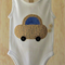 Toddler boys onesie with car applique.