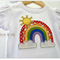 Sunny Rainbow Tee - Size 2. Bright, Colourful, Cotton Applique Tshirt. Girl.
