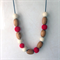 Simboo nursing necklace - Jingle bells red and cream bamboo