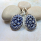 Navy Floral Cabachon Earrings