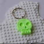 SKULL DAYS - awesome skull shaped bag tag handmade in fluro lime green resin