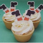 Santa Legs Cupcake Toppers, EDIBLE wafer and PRE-CUT