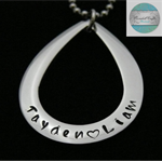 Personalised Names Pendant , Tear Drop, Family Necklace Stainless Steel