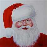 "Santa Claus, Wall art PRINT, watercolour painting 8x8"" Christmas Prints"