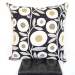 Black Retro Flower Cushion Cover
