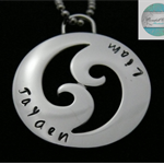Personalised Names Pendant , Waves, Mens Necklace  Stainless Steel
