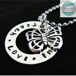 Personalised Names Pendant & Necklace with Sterling Butterfly. Luxurious Range.