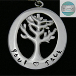 Personalised Names Pendant , Tree of Life, Famaily Necklace Stainless Steel