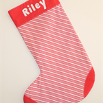 Personalised large christmas stocking - Custom made with a name - Stripes design