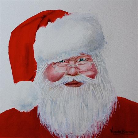 Santa Claus, Wall art PRINT, watercolour painting 8x8\