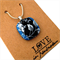corn flower blue floral fused glass pendant