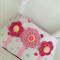 Girls purse - polka dots with crochet flower motifs