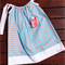 Blue Pillowcase Dress with Red and Yellow Flower Spots, size 3
