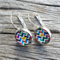 Glass dome hoop earrings - Chevron colourful