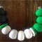 Faceted Emerald, Black, Grey & White Marble Necklace