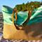 Extra Large, Organic Screen Print Cotton & Burlap Summer Beach Tote, Bag