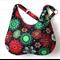 Christmas Snowflake Fabric Ladies Hobo Handbag Purse in Green Black Red and Gold
