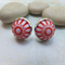 Vintage Red and White Dome Studs