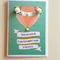 Hot air balloon peach with paper roses & pearls love card