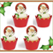 12x mixed EDIBLE wafer  father christmas santa faces cupcake toppers