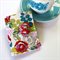 Tea Bag Wallet - Illustrated roses and leaves on white