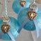 Set of 4 Glass Decoupage Christmas Baubles - BLUE