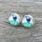 Glass dome stud earrings - Little Blue Bird