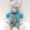 Charlie the Hand Knitted Big Eared Knitted Bunny with an Blue Jacket