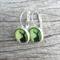 Glass dome hoop earrings - Christmas Deer Green