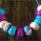 Aqua, Fuschia & Beige Necklace