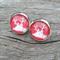 Glass dome stud earrings - Christmas Reindeer