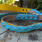 Seaside Yellow and Blue Medium Leather Collar and Lead Set
